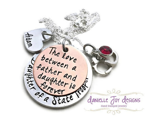 Daughter of A Police Officer Firefighter Cop Hero The Love Between A Father and Daughter Is Forever Stamped Personalized Custom Necklace