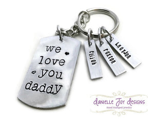 "Personalized Hand Stamped Fathers Day ""We Love You Daddy"" Keychain"