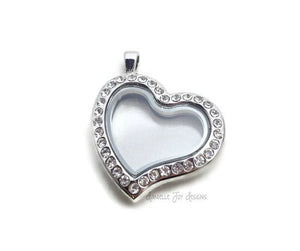 FLOATING LOCKET - Stainless Steel Rhinestone Crystal Heart Floating Locket