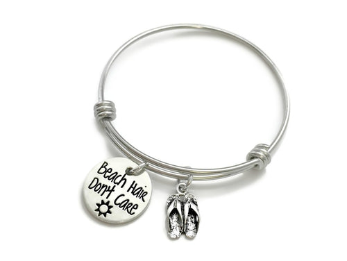 Beach Hair Don't Care Flip Flop Bangle Bracelet