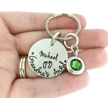 Load image into Gallery viewer, Grandma's Angel Birthstone Keychain