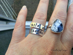 Hand Stamped Aluminum Wrapped Personalized Custom Ring