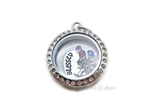 Blessed - Crystal Floating Stainless Steel Locket - Personalized Necklace