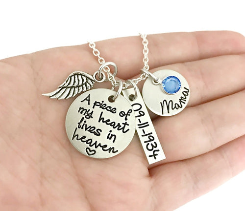 A Piece of My Heart Lives in Heaven Personalized Necklace