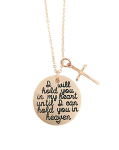 I Will Hold You In My Heart - Rose Gold Cross Necklace