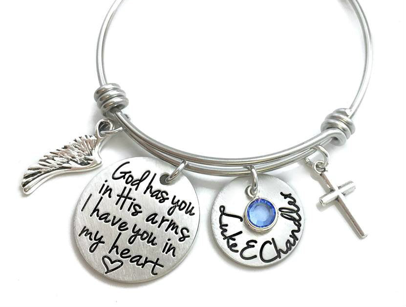 God Has You In His Arms I Have You In My Heart Bangle Bracelet