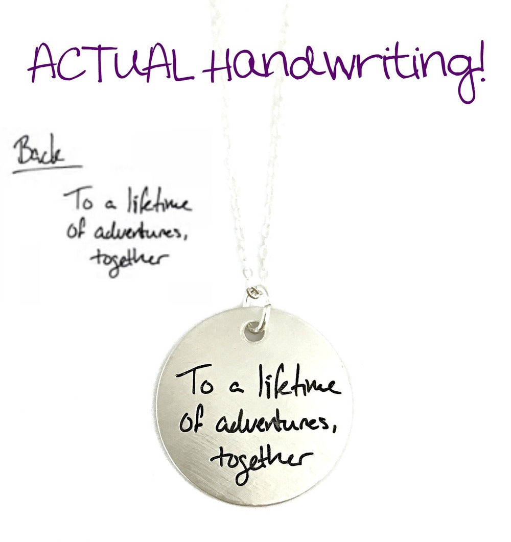 ACTUAL Handwriting Pendant - Double Sided - Sterling Silver