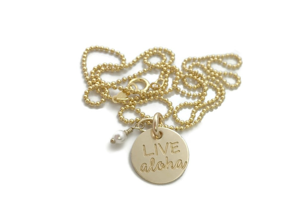Live Aloha Small Round & Pearl Gold Filled Necklace
