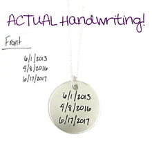 Load image into Gallery viewer, ACTUAL Handwriting Pendant - Single Sided - Sterling Silver