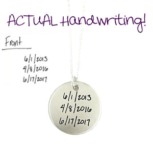 ACTUAL Handwriting Pendant - Single Sided - Sterling Silver