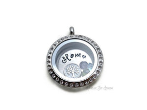 MOM - Crystal Floating Stainless Steel Locket - Personalized Necklace