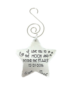 Star Christmas Ornament - Love You To The Moon and Beyond The Stars