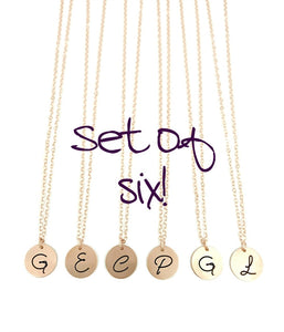 Bridesmaid Initial Necklaces - Rose Gold Filled - Set of SIX