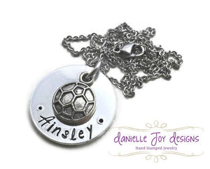 Hand Stamped Custom Soccer Baseball Volleyball Basketball Kids Sports Team Aluminum Necklace OR Key Chain