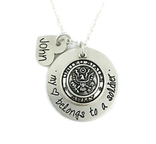 Load image into Gallery viewer, My Heart Belongs To A Soldier Personalized Necklace