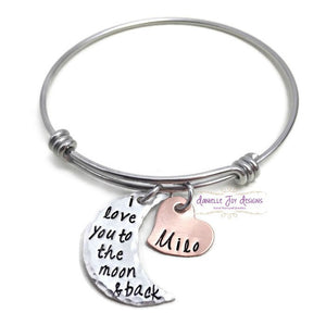 I Love You To The Moon And Back - Moon And Star Bangle Bracelet