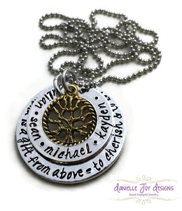 "Custom Hand Stamped ""Gramma Is a Gift From Above - To Cherish & To Love"" Personalized Grandma Mother Necklace"