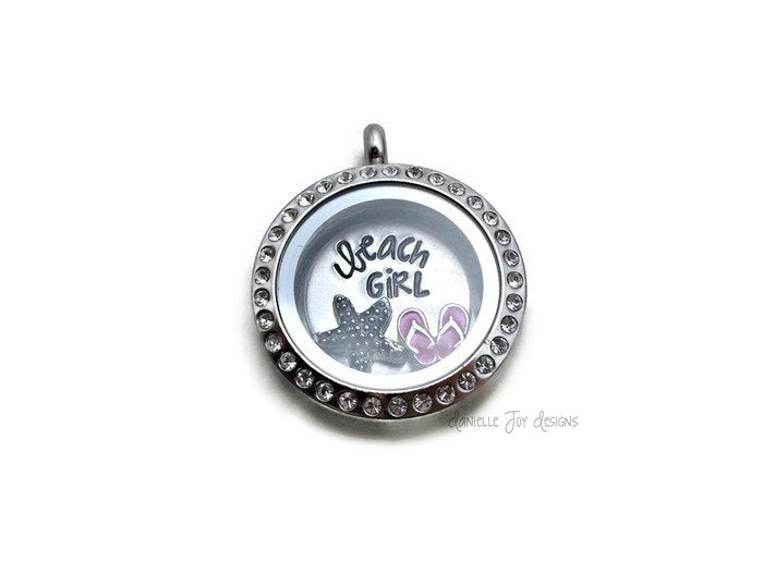Beach Girl - Crystal Floating Stainless Steel Locket - Personalized Necklace