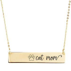 Cat Mom Bar Necklace - Sterling Silver, Rose Gold and Gold Filled