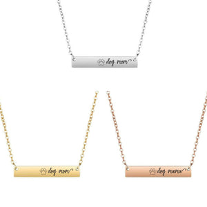 Dog Mom Bar Necklace - Sterling Silver, Rose Gold and Gold Filled