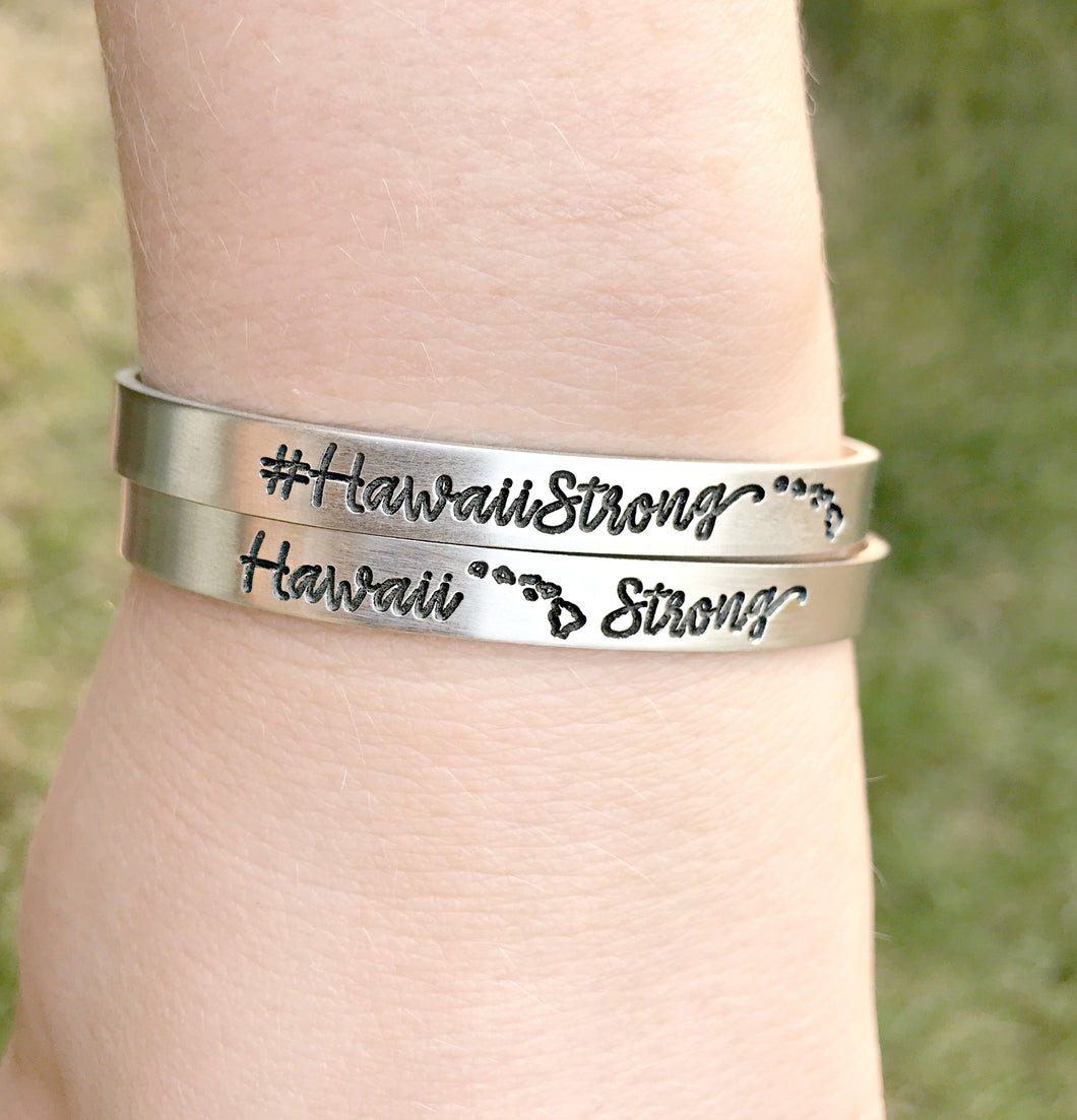 Hawaii Strong Hashtag Cuff - Hurricane Lane - Pray for Hawaii