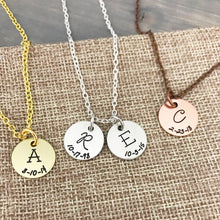 Load image into Gallery viewer, Personalized Initial & Date Necklace