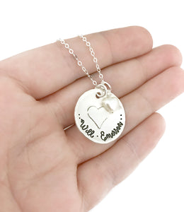 Name Necklace - Soldered Heart Sterling Silver