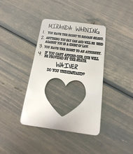 Load image into Gallery viewer, Miranda Warning Card