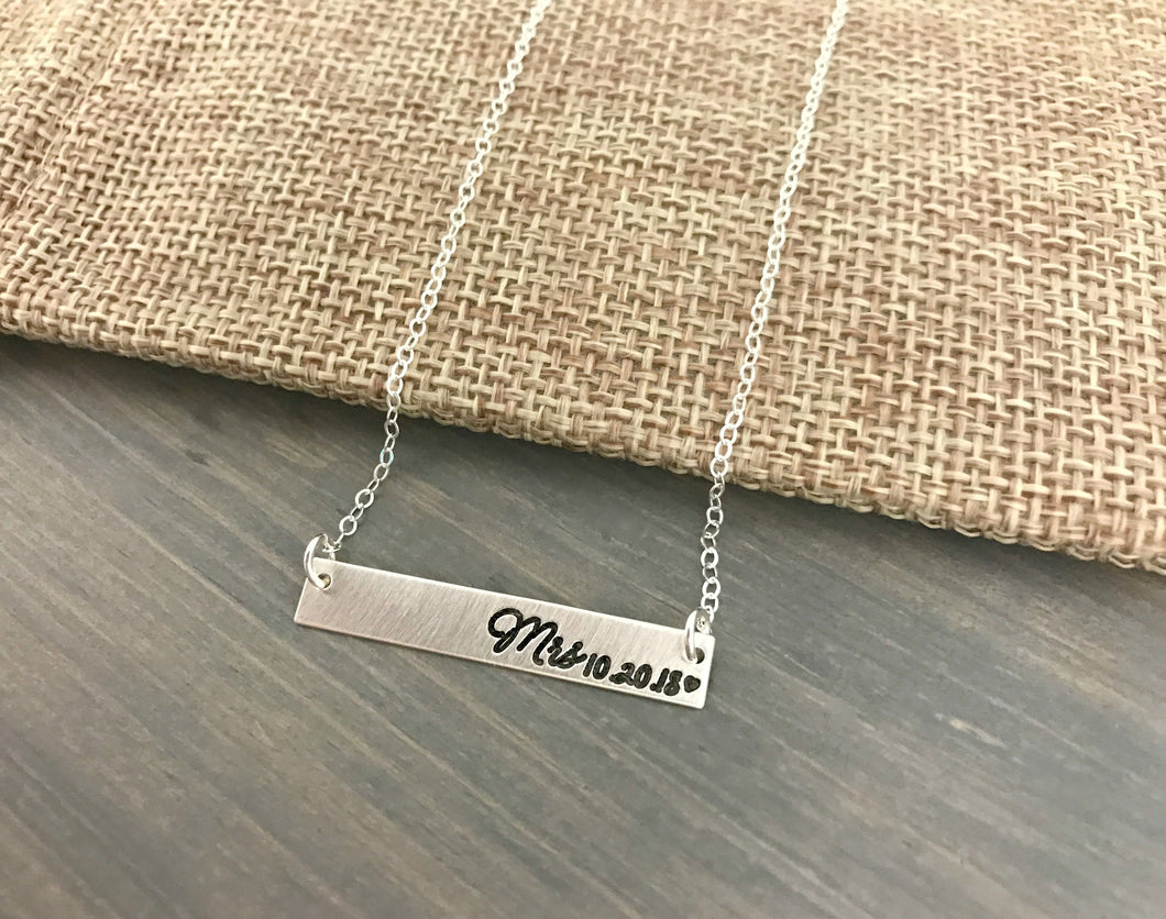 New Mrs Bar Necklace