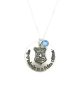 Love My Police Officer Sterling Silver Necklace