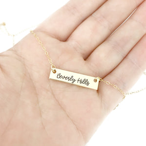 SOLID 14K GOLD Beverly Hills Bar Necklace