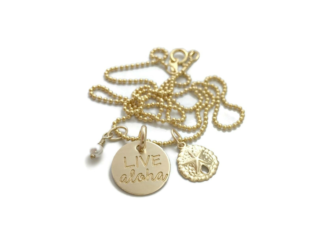 Live Aloha Small Round Sand Dollar & Pearl Gold Filled Necklace
