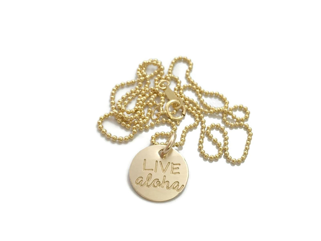 Live Aloha Small Round Gold Filled Necklace