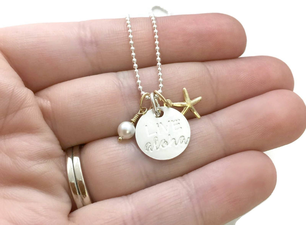 Live Aloha Small Round Gold Starfish Pearl Sterling Silver Necklace