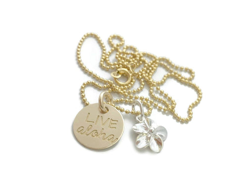 Live Aloha Small Round With Sterling Silver Plumeria Gold Filled Necklace