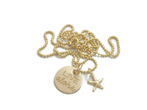 Live Aloha Small Round With Starfish Gold Filled Necklace