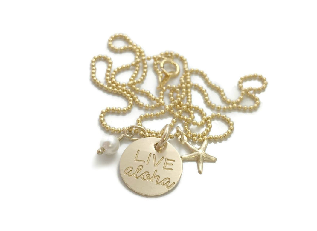 Live Aloha Small Round With Starfish & Pearl Gold Filled Necklace