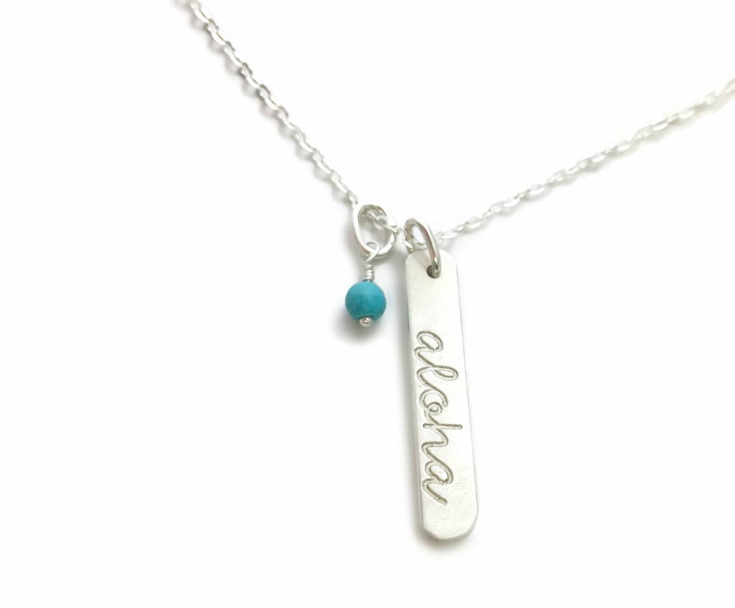 Aloha Rounded Vertical Short Bar African Turquoise Sterling Silver Necklace