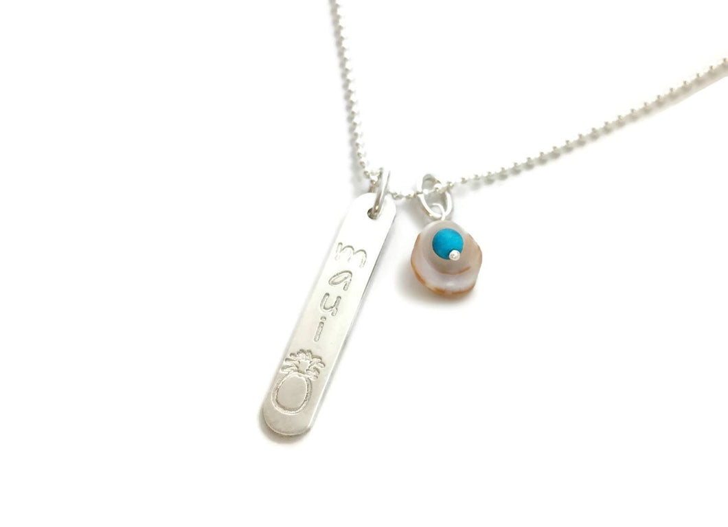 Maui Pineapple Rounded Vertical Short Bar & Tiny Shell With Turquoise Sterling Silver Necklace