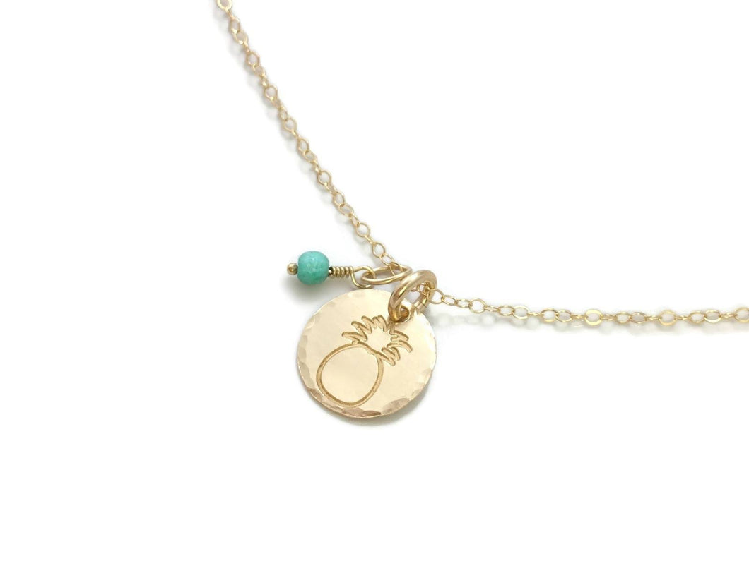 Gold Pineapple Small Round African Turquoise Gold Filled Necklace