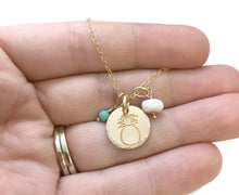 Load image into Gallery viewer, Gold Pineapple Small Round African Turquoise Shell Gold Filled Necklace