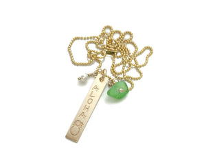Aloha Pineapple Vertical Bar Green Sea Glass Pearl Gold Filled Necklace
