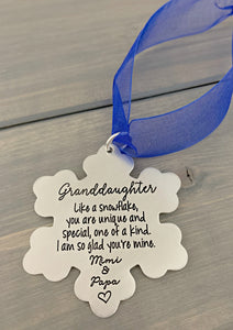 2019 Snowflake Grandparents Ornament