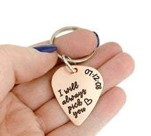 Load image into Gallery viewer, I Will Always Pick You Copper Guitar Pick Key Chain