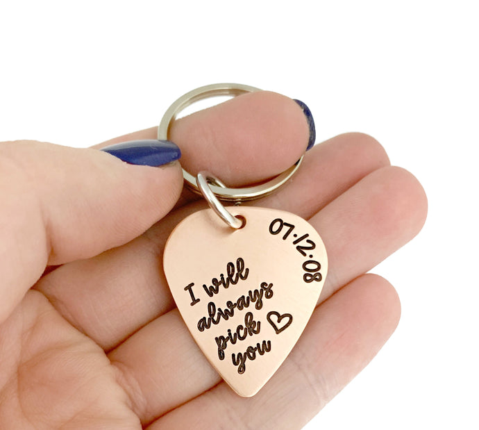 I Will Always Pick You Copper Guitar Pick Key Chain