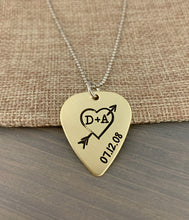Load image into Gallery viewer, Anniversary Hand Drawn Heart Guitar Pick Necklace