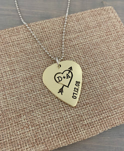 Anniversary Hand Drawn Heart Guitar Pick Necklace