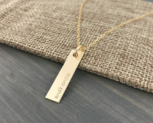 SOLID 14K GOLD Vertical Bar Necklace