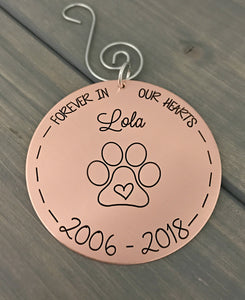 Personalized Memorial Christmas Ornament - Copper