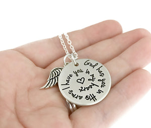 God Has You In His Arms I Have You In My Heart Spiral Necklace